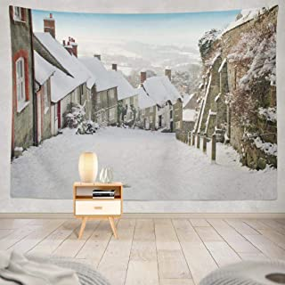 Huhah Wall Hanging Tapestry Gold Hill Snow UK English Cottage House Old Scene Wall Tapestry Dorm Home Decor Bedroom Living Room in 80X60 Inches,Gold Hill Snow