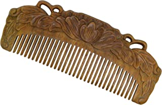 TORMROAD(TM) Chinese Vintage Handmade Natural Green Sandalwood Combs Carved Anti-Static Wood Scalp Massage With Gift Box Lotus Long