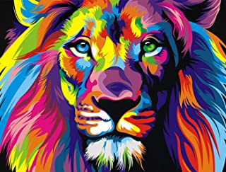 eGoodn Diamond Painting Full Drill Kit DIY Cross Stitch by Number Kit Wall Decor Art, Canvas 19.7 inches by 14.2 inches, Colorful Lion, No Frame