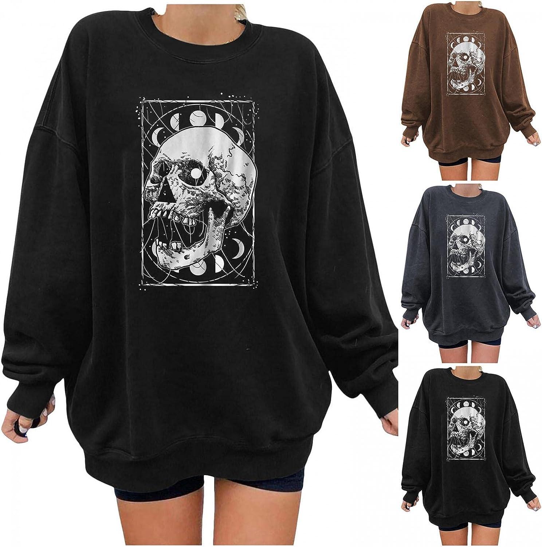 FABIURT Long Sleeve Shirts for Women, Womens Tops Gothic Skeleton Printed Round Neck Blouse Fashion Pullover Sweatshirts