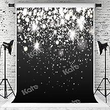 5ft(W) x7ft(H) Silver Sparkle Glitter Backdrops Black Silver Bokeh Dots Photo Background Light Spots Birthd...