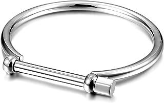 Gold Cuff Bangle Bracelet Stainless Steel Screw Bar Bracelet for Women Men Girls Boys