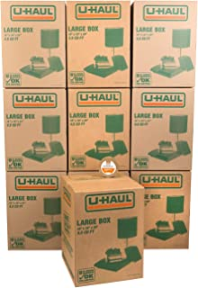 """U-Haul Large Moving Boxes - Pack of 10 Boxes - 18"""" x 18"""" x 24""""- Bonus Roll of Tape Included"""