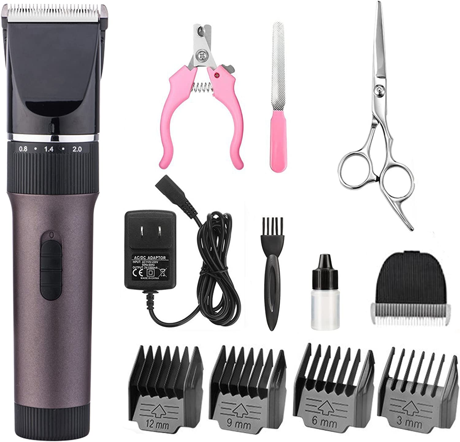 ZRYun Dog Grooming Clipper - Cordless Qiuet Pet Grooming Kit Rechargeable Pet Hair Clipper with 4 Comb Guide(3-6-9-12mm) Adjustable Blade (0.8-2.0mm) Scissors Nail Kits