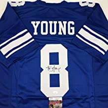 Autographed/Signed Steve Young Brigham Young BYU Blue College Football Jersey JSA COA