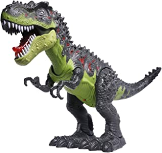 CifToys Tyrannosaurus Rex Dinosaur Walking Dinosaur Toys Kids Toy Realistic Jurassic Trex Dinosaur Action Toy Figure Walking Moving Glowing Dino Figure (Green)