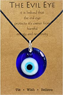 Evil Eye Necklace,Blue Turkish Glass Leather Rope Evil Eye Necklace for Women Men Lucky Protection Necklace Jewelry