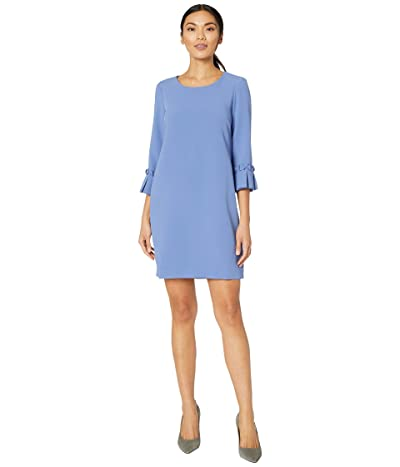 Tahari by ASL Stretch Crepe A-Line Shift with Pleat Sleeve Detail (Dark Periwinkle) Women