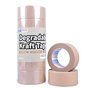 ADHES Biodegradable Kraft Paper Tape Eco Friendly Packing Tape Writable Non-Coated Surface for Masking, Sealing, and Packaging Use,2inch x 55 Yards,6Rolls
