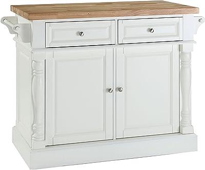 Home Styles Butcher Block Top Kitchen Island : Amazon.com - Home Styles 5002-94 Kitchen Island, White and Distressed Oak Finish - Kitchen ...