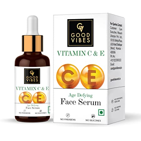 Good Vibes Vitamin C & Vitamin E Age Defying Serum, 30 ml Light Weight Non Greasy Helps Reduces Wrinkles Skin Repair, Naturally Glowing Face Serum, No Parabens & Sulphates, No Animal Testing