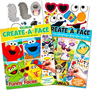 Sesame Street Make a Face Sticker Books for Kids Toddlers -- Set of 2 Giant Books with over 60 Faces and 400 Stickers (Sticker Face Activity Set)