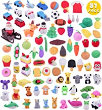 Greentime 89 Different Kids Pencil Erasers, 7 Series 3D Mini Erasers for Kids Birthday Party Supplies Favors, School Classroom Rewards and Novelty Toys Thanksgiving Gifts Christmas Party Supplies