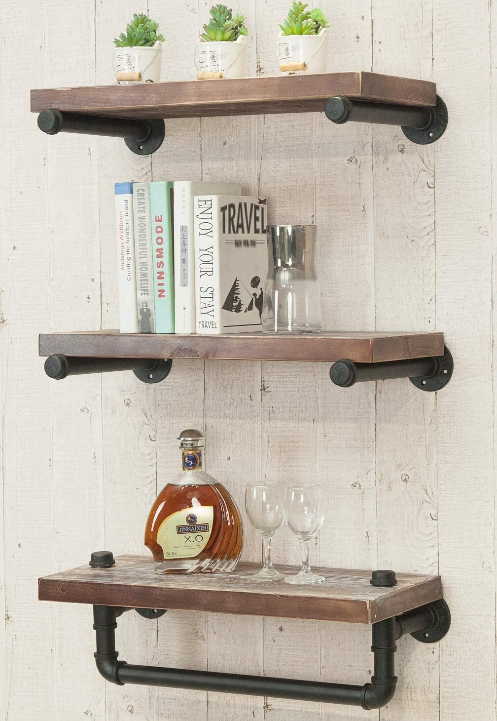 Tampa Mall Industrial Rustic 5 ☆ very popular Modern Wood Ladder Mounted Wall Floating Pipe