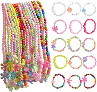 obmwang 30Pcs Princess Necklace Bracelet Set, Little Girls Costume Jewelry Play Jewelry for Kids Dress Up Pretend Play Par...