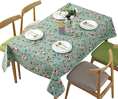 Antuen Square 100% Cotton Tablecloth Cover Flower Printed Table Cover Tablecloth for Dinner Kitchen Green, 36x36 Inch