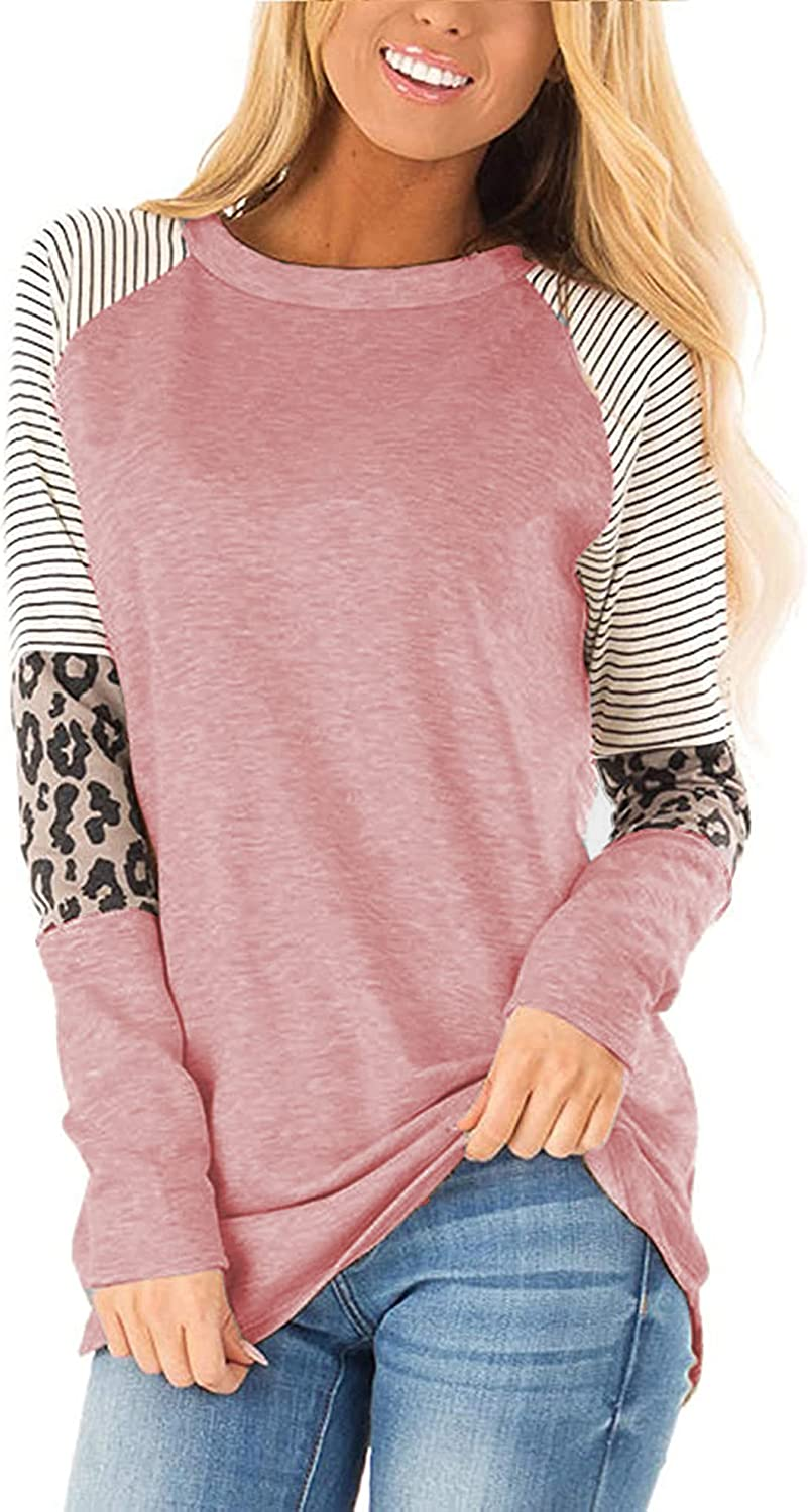 Womens Color Block Long Sleeve Leopard Print Tops Round Neck Striped Loose Casual Shirts Tunic Tops
