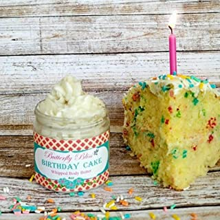 Birthday Cake Whipped Body Butter, natural lotion, organic, 4oz jar, made with shea butter, mango butter, coconut oil, almond oil