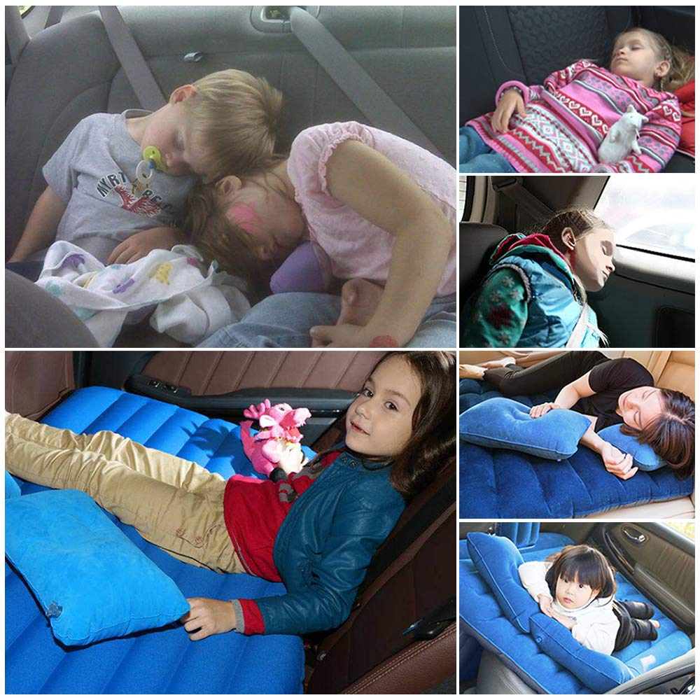 Two Pillows for Sleep Rest and Travel NEX Car Inflatable Mattress Camping Air Bed Car Mobile Cushion Inflation Back Seat Extended Couch with Motor Pump
