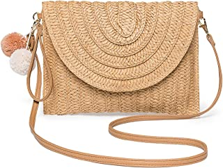 Straw Shoulder Bag, Kadell Straw Clutch Women Handmade Straw Crossbody Bag Summer Beach Envelope Purse Wallet