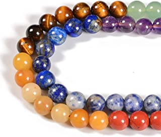"Nancybeads Healing Reiki 7 Color Chakras Yoga Natural Gemstone Round Spacer Loose Beads for Jewelry Making 15.5"" 1 Strand ..."