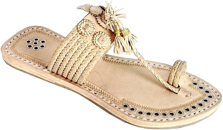 KOLHAPURI CHAPPAL Original Magnificent Designer's Natural Seven Braid Silver Rivets Kolhapuri Women Chappal Slipper Sandal