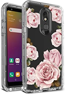 AMPURSQ Case for LG Stylo 5, LG Stylo 5V Phone Case for Women Girl Three Layers Shockproof Hybrid TPU Bumper and Floral PC Back Hard Clear Protective Armor Cover for New LG Phone (Plain Floral)