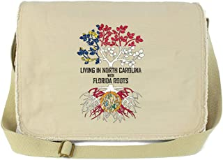 Tenacitee Living In Vermont with North Carolina Roots Grey Brushed Canvas Messenger Bag