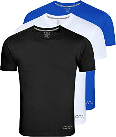 AWG - All Weather Gear Men's Polyester T-Shirt (Pack Of 3) (Awgdft-Bl-Wh-Rb)