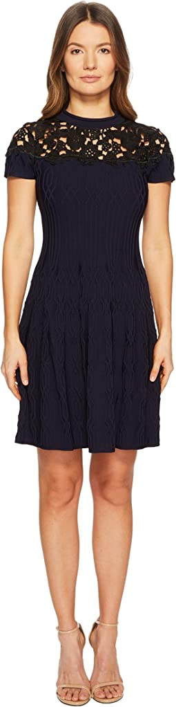Woven Dress with Black Lace Details on The Top