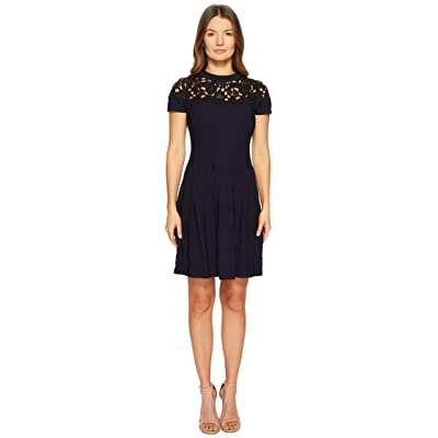 The Kooples Woven Dress with Black Lace Details on The Top (Navy) Women