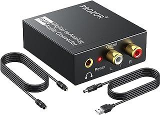 PROZOR Digital to Analog Converter 192KHz DAC Digital SPDIF Optical to Analog L/R RCA Converter Toslink Optical to 3.5mm J...
