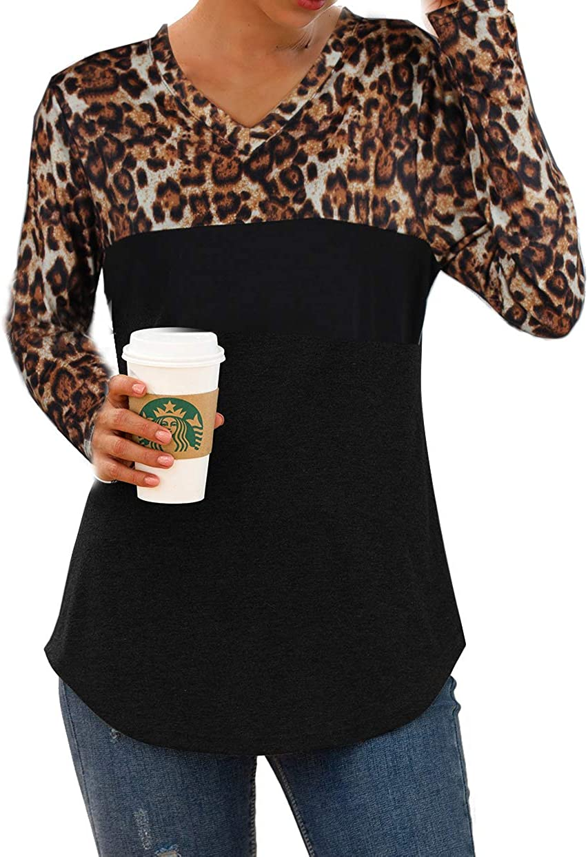 ZKHOECR Women's Round Neck Long Sleeve Casual Color Block Pullover Tunic Blouse Tops