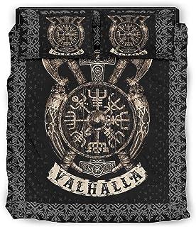 Tentenentent Juego de ropa de cama Viking Shield de 4 piezas, funda nórdica y fundas de almohada, colcha suave y ligera, color blanco 2 240 x 264 cm