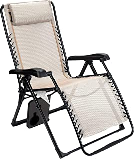 Timber Ridge Zero Gravity Locking Lounge Chair Oversize XL Adjustable Recliner with Headrest for Outdoor Beach Patio Pool Support 350lbs (Renewed)
