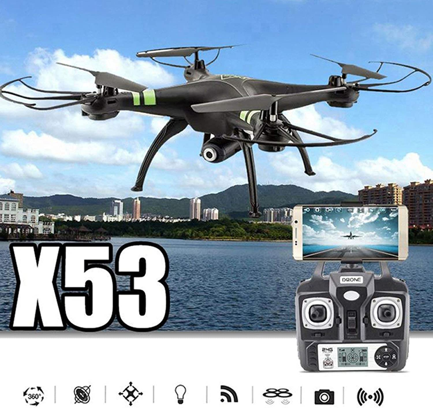 X53 Quadcopter AutoTakeoff Remote Model Airplane 300,000 Pixels Camera(color red)