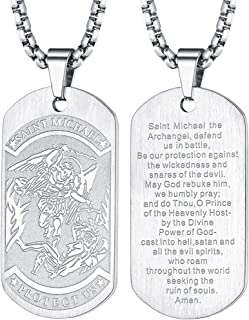 Saint Michael Necklace Bracelet, Personalized Engraving Protection Gifts for Men/Women, Stainless Steel/Gold Plated St. Michael The Archangel Medal Pendant Jewelry (Send Gift Box)