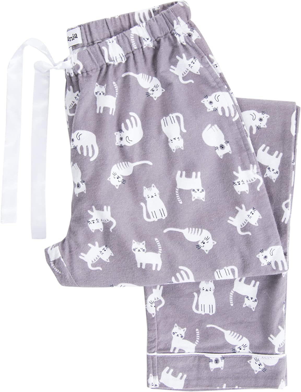 PajamaMania Womens Cotton Flannel Pajama PJ Pants with Pockets