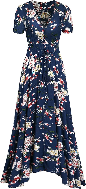 Bon Rosy Women's Short Sleeve Front Slit Printed Bohemian Maxi Dress