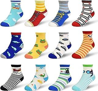 ELUTONG, Calcetines antideslizantes para niños pequeños, 12 pares de calcetines de ABS antideslizantes para bebés, niños pequeños y niñas, estampado de animales