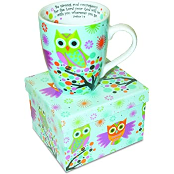 Divinity Boutique Inspirational Ceramic Mug-Owls on Tree, Joshua 1:9, Be Strong and Courageous, Multicolor, One Size