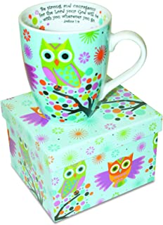 Divinity Boutique 20606 Inspirational Ceramic Mug-Owls on Tree, Joshua 1:9, Be Strong and Courageous, Multicolor, One Size