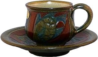 清正陶器 カップ_ソーサー (赤) φ18cm 赤絵魚紋コーヒーカップ