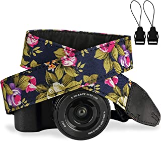 Camera Strap,Eggsnow Universal Camera Neck Shoulder Strap for Mirrorless Polaroid Digital SLR Camera-Navy Flower
