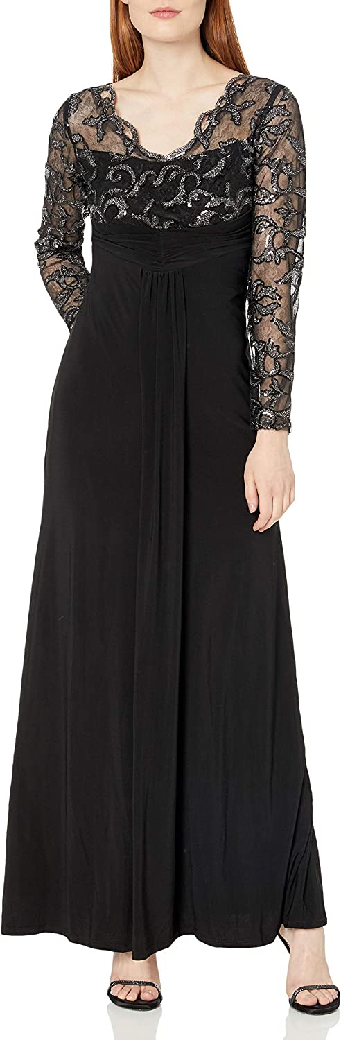 Marina Nippon regular agency Women's Max 80% OFF Long Jersey Gown Bodice Scallop with Lace