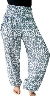 Women's 0-12 Smocked Elastic Waist Boho Print Harem Pants w Pockets Tall 34 Inseam