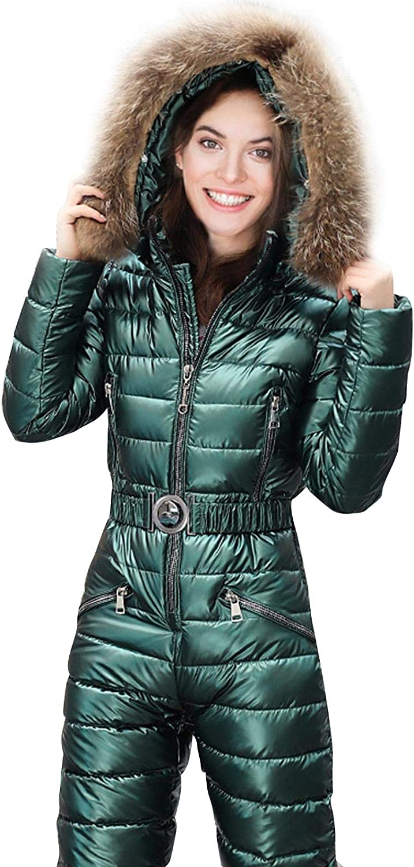 Womens Winter Onesies Ski Jumpsuit Outdoor Sports One Piece Snowsuit with Hoodies