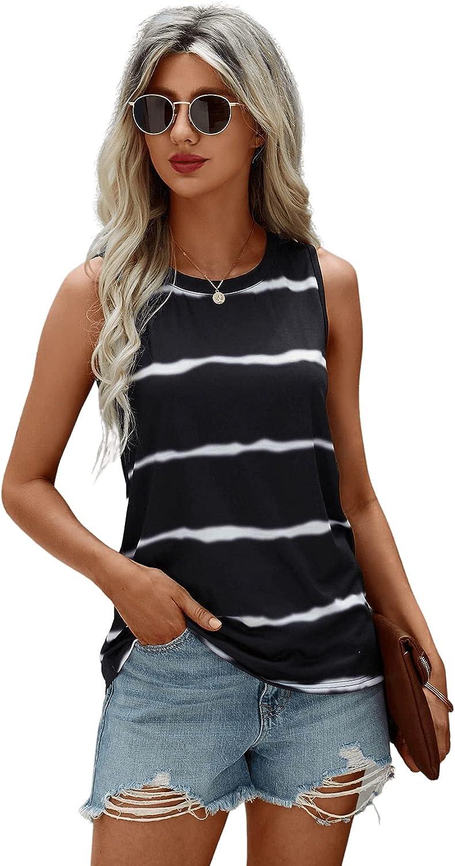 SweatyRocks Women's Casual Striped Sleeveless Tank Top Round Neck Vest Shirt