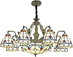Mediterranean Chandelier Tiffany Style Retro Stained Glass Pendant Lamp Pastoral Floral Hanging Lighting Fixture for Livin...
