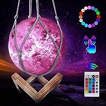 JBHOO Nieuwe 3D maanlamp 16 kleuren lamp kinderkamer LED oplaadbare Venuslamp, nachtlampje met houten standaard en hangend...